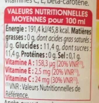 Jus de grenade - Nutrition facts - fr