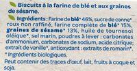 Biscuits à la farine de blé et aux graines de sésame bio - Ingredients - fr
