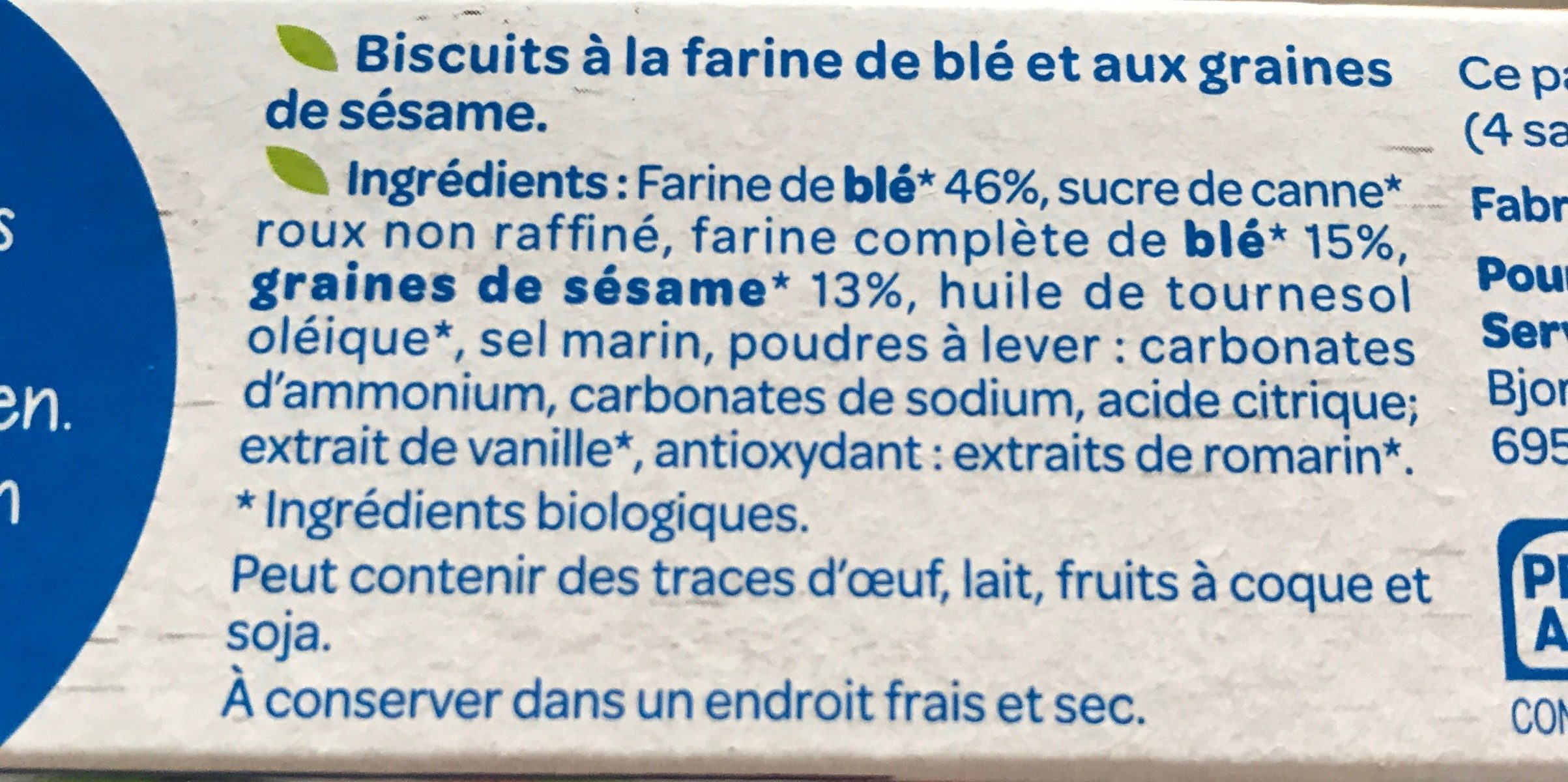 Blé sésame bio - Ingredients