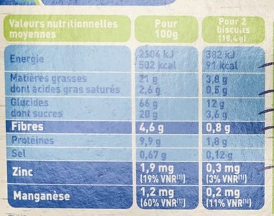 Blé sésame bio - Nutrition facts
