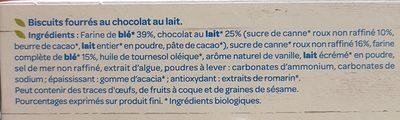 Fourrés Chocolat lait Bio - Ingrédients