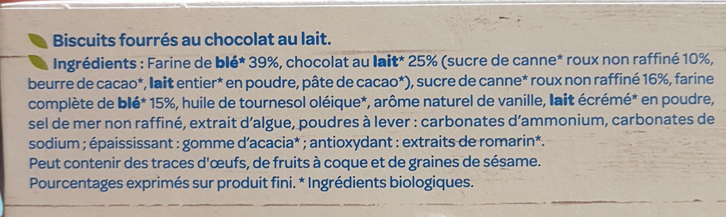 Fourrés Chocolat au lait BIO - Ingrédients - fr