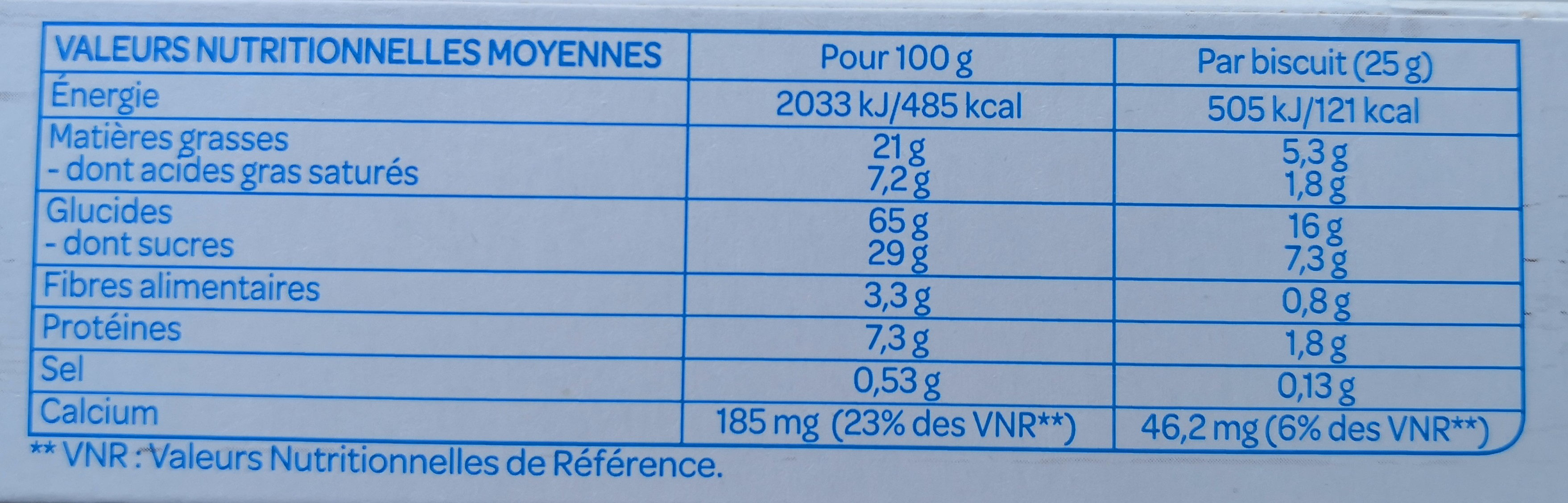 Fourrés Chocolat lait Bio - Informations nutritionnelles