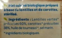 Lentilles carotte - Ingrediënten