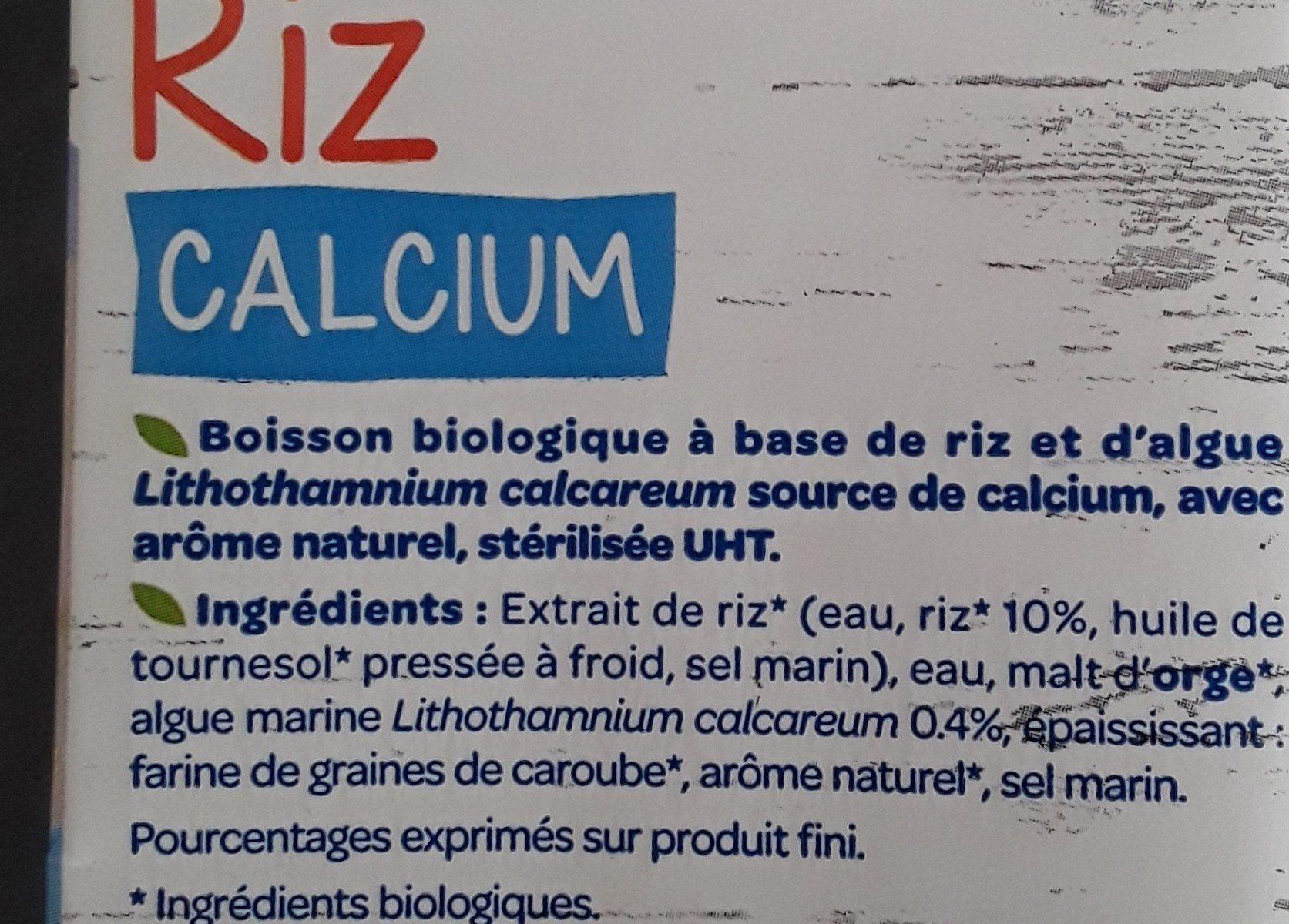 Boisson riz calcium - Ingrediënten - fr