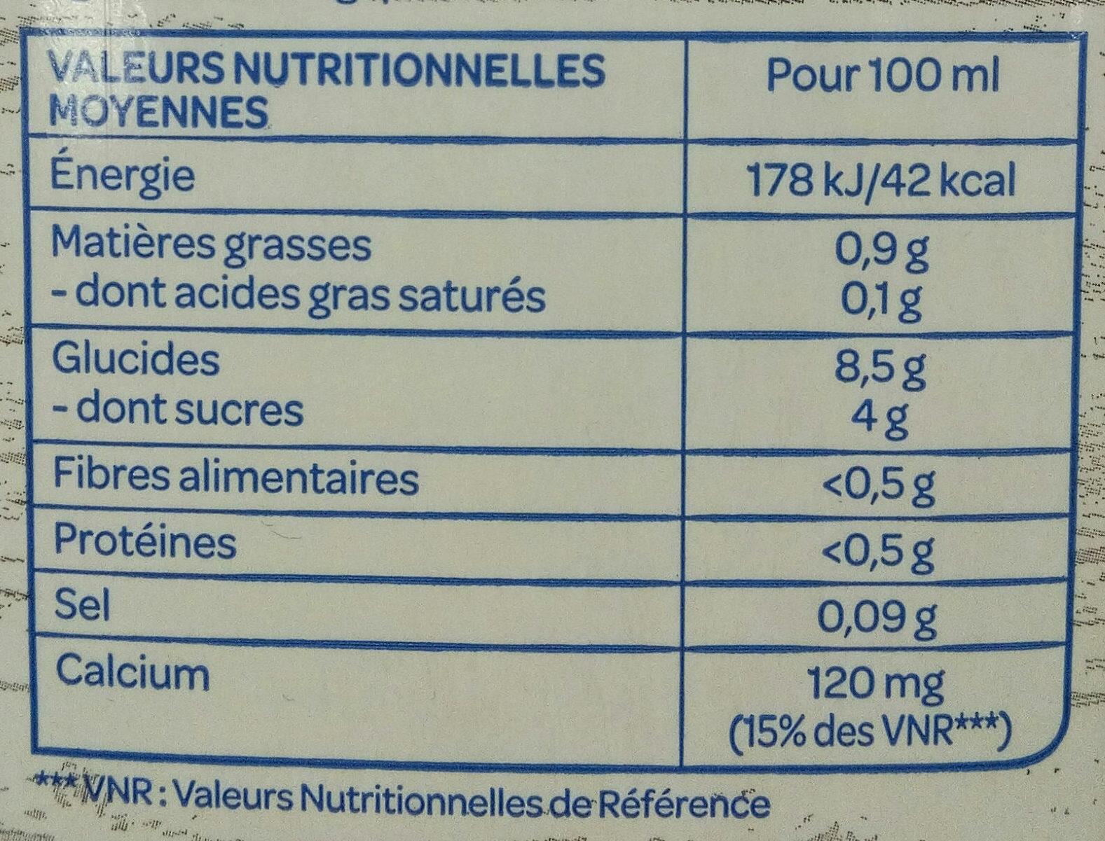 Boisson riz calcium - Voedingswaarden - fr
