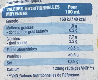 Boisson de riz - Nutrition facts - fr