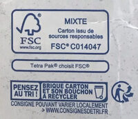 Boisson de riz - Recycling instructions and/or packaging information - fr