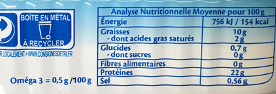 Filet de saumon bio - Informations nutritionnelles - fr