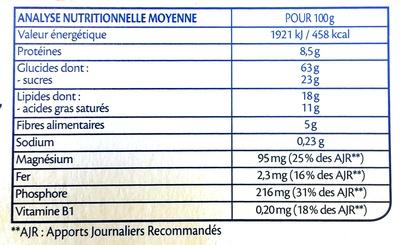 Biscuits Sarrasin et graines de lin bio - Informations nutritionnelles - fr