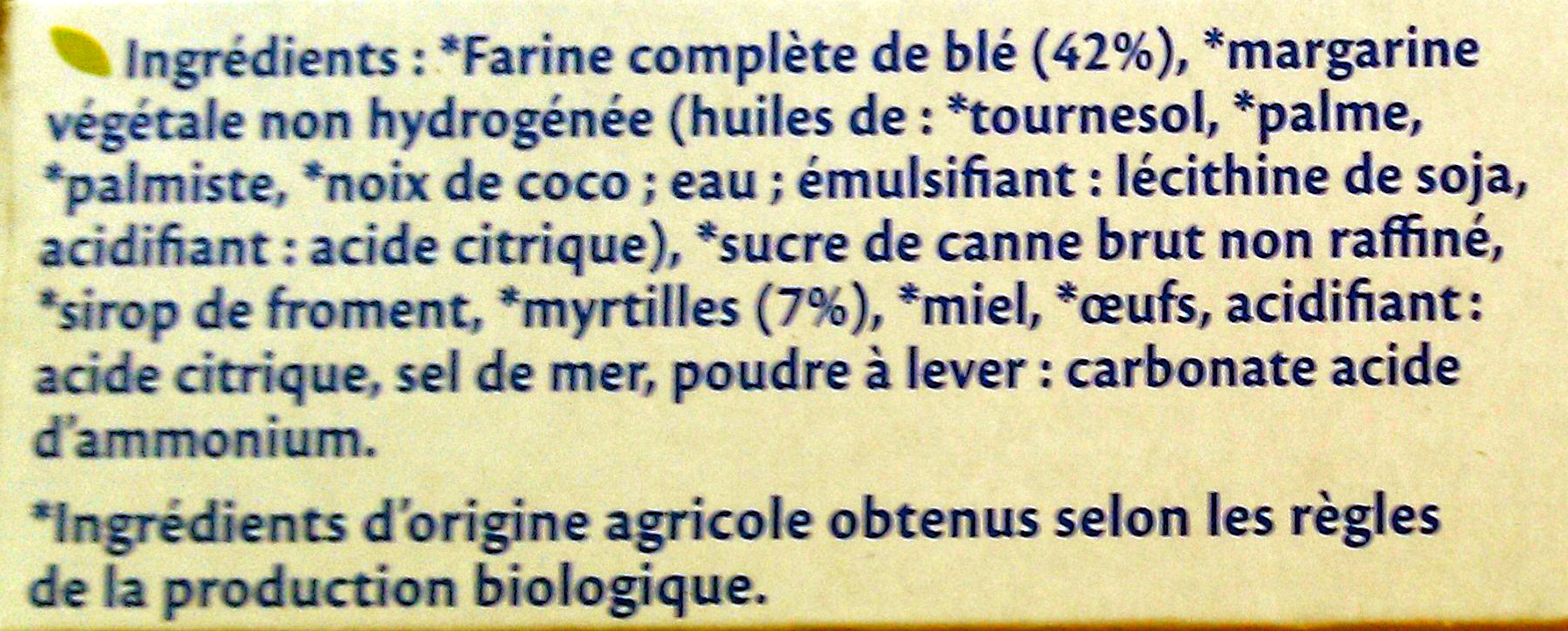 Bjorg - fourrés myrtilles bio - Ingredients - fr