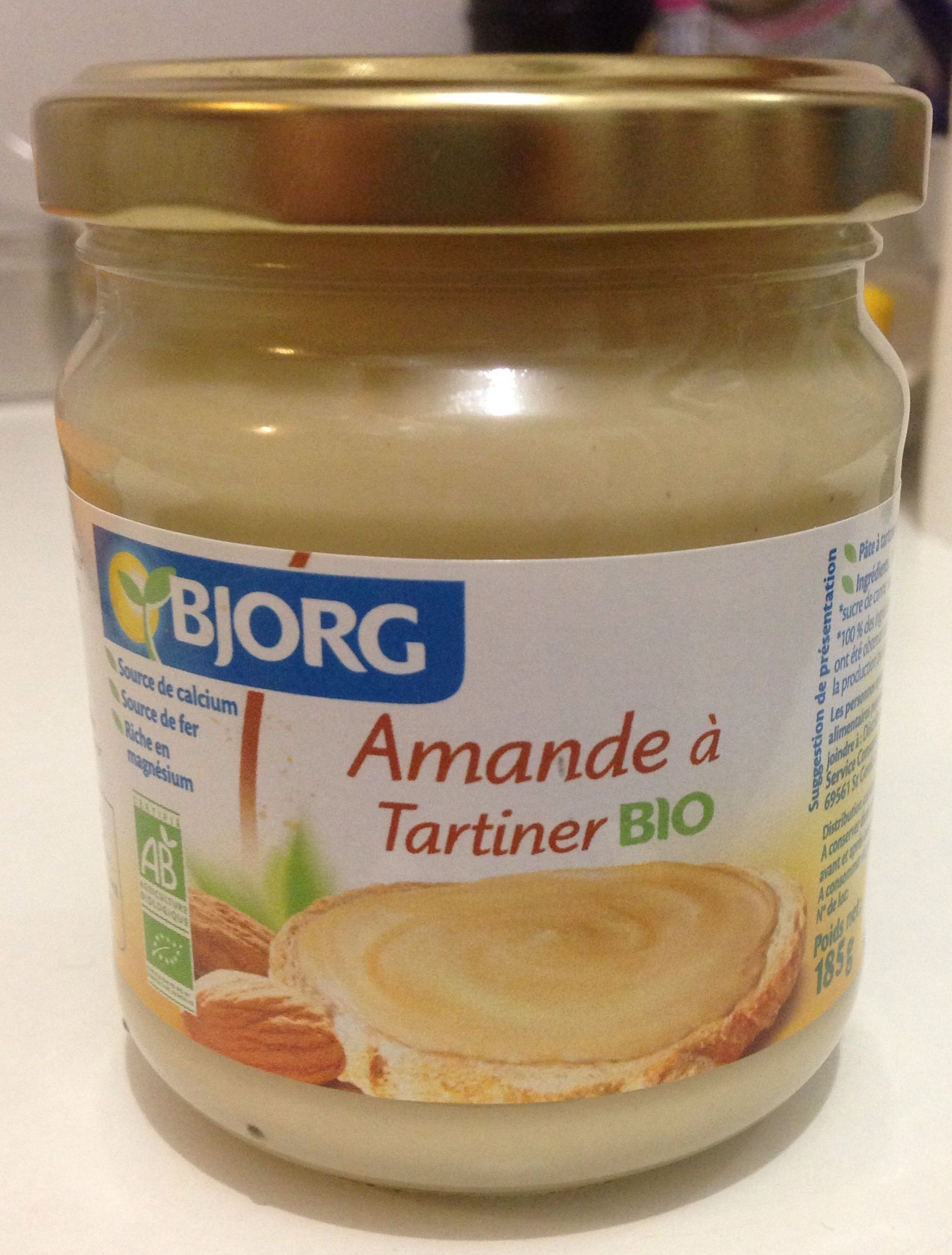 Amande tartiner bio bjorg 185 g for Amande cuisine bjorg