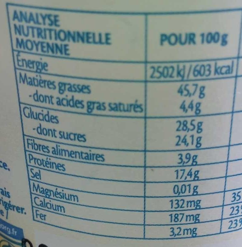 Amande à tartiner Bio - Informations nutritionnelles