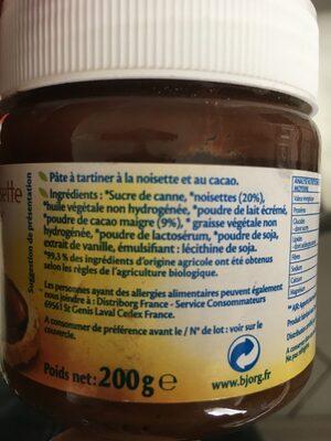 Cacao Noisette à Tartiner bio - Ingredienti - fr
