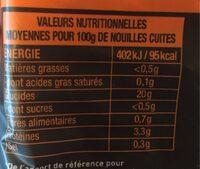 Nouilles chinoises - Informations nutritionnelles - fr