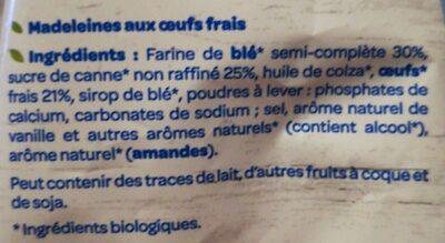 La madeleine Bio - Ingredienti - fr