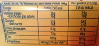 Galettes de riz - Chocolat noir Coco bio - Valori nutrizionali - fr