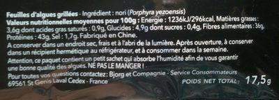 Algues Nori - Ingredienti - fr