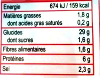 Ramen- Sauce Boeuf - Informations nutritionnelles