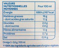 Soja cuisine fluide Bio - Información nutricional - fr
