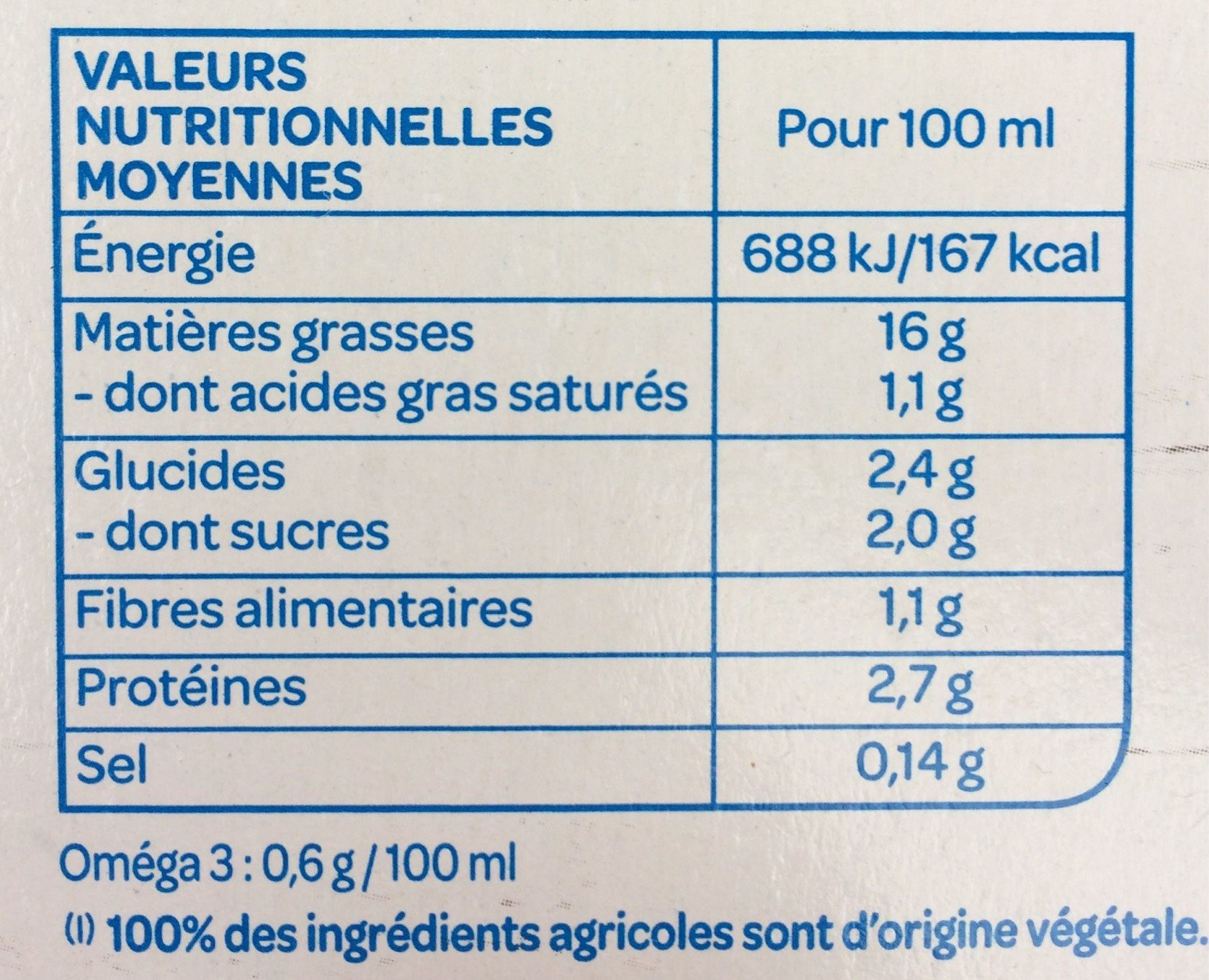Soja cuisine fluide Bio - Nährwertangaben