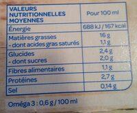 Soja cuisine fluide - Informations nutritionnelles - fr
