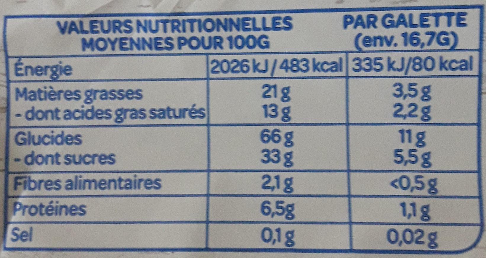 Galette maïs - Informations nutritionnelles - fr