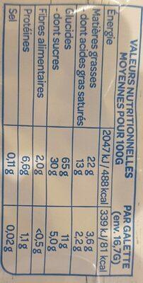 Galettes de Maïs - Voedingswaarden - fr