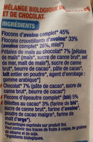 Muesli avoine chocolat bio - Ingredients - fr