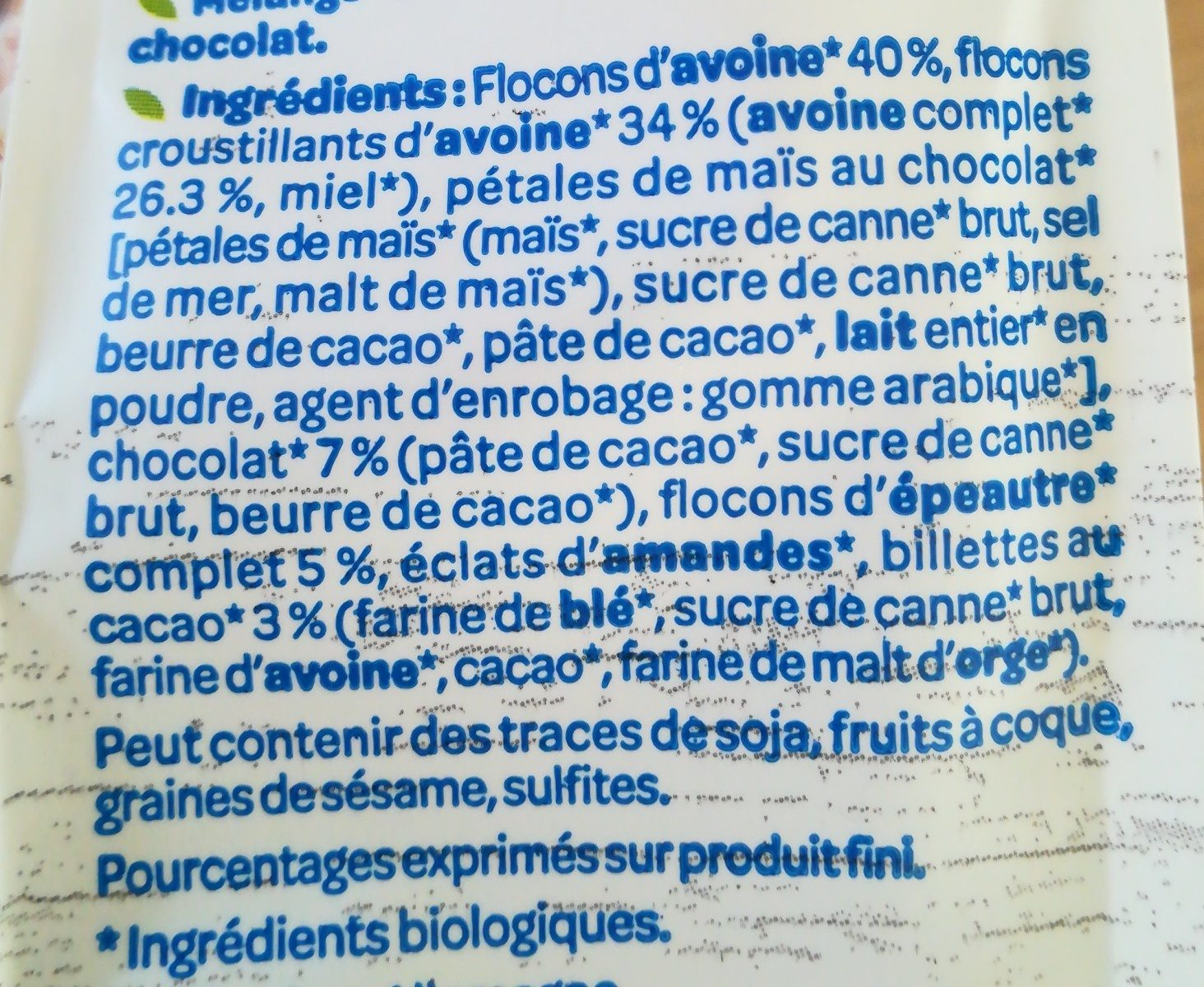 Muesli avoine chocolat - Ingredients