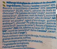 Muesli avoine chocolat - Ingrediënten - fr