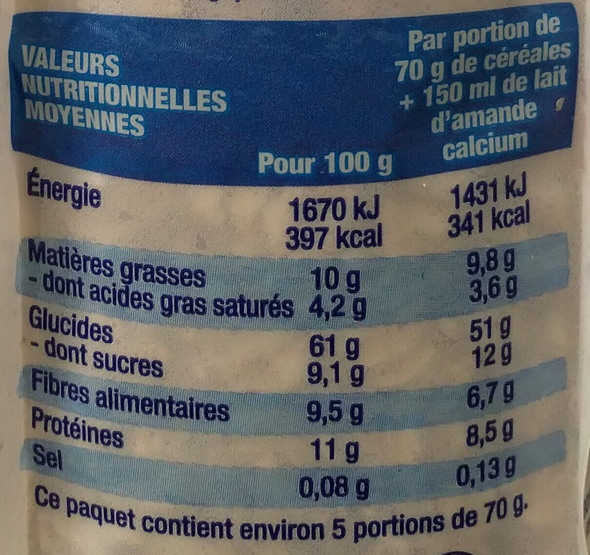 Muesli avoine chocolat bio - Nutrition facts - fr