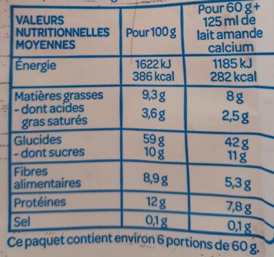 Muesli avoine chocolat - Voedingswaarden - fr