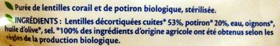 Purée Lentilles corail potiron Bio - 250 g - Bjorg - Ingrediënten - fr