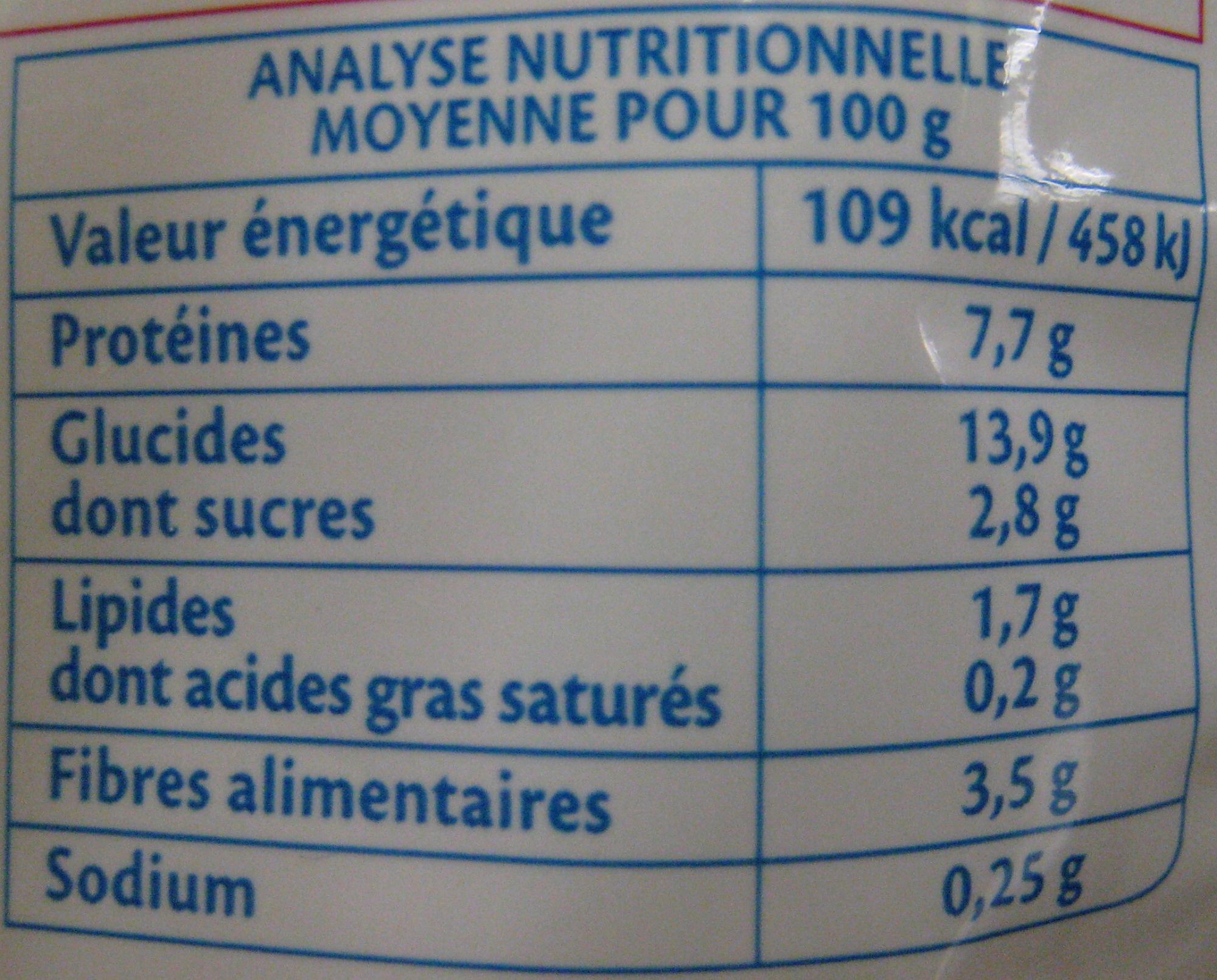 Purée Lentilles corail potiron Bio - 250 g - Bjorg - Voedingswaarden - fr