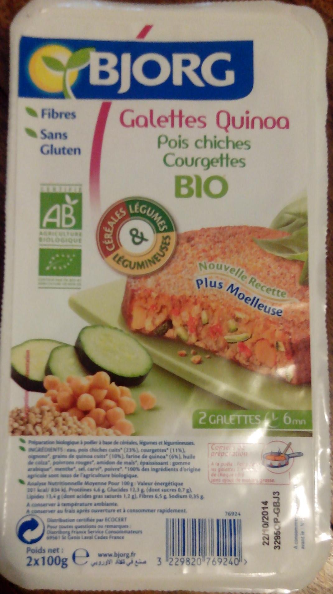 Galettes quinoa pois chiches courgettes - Produit