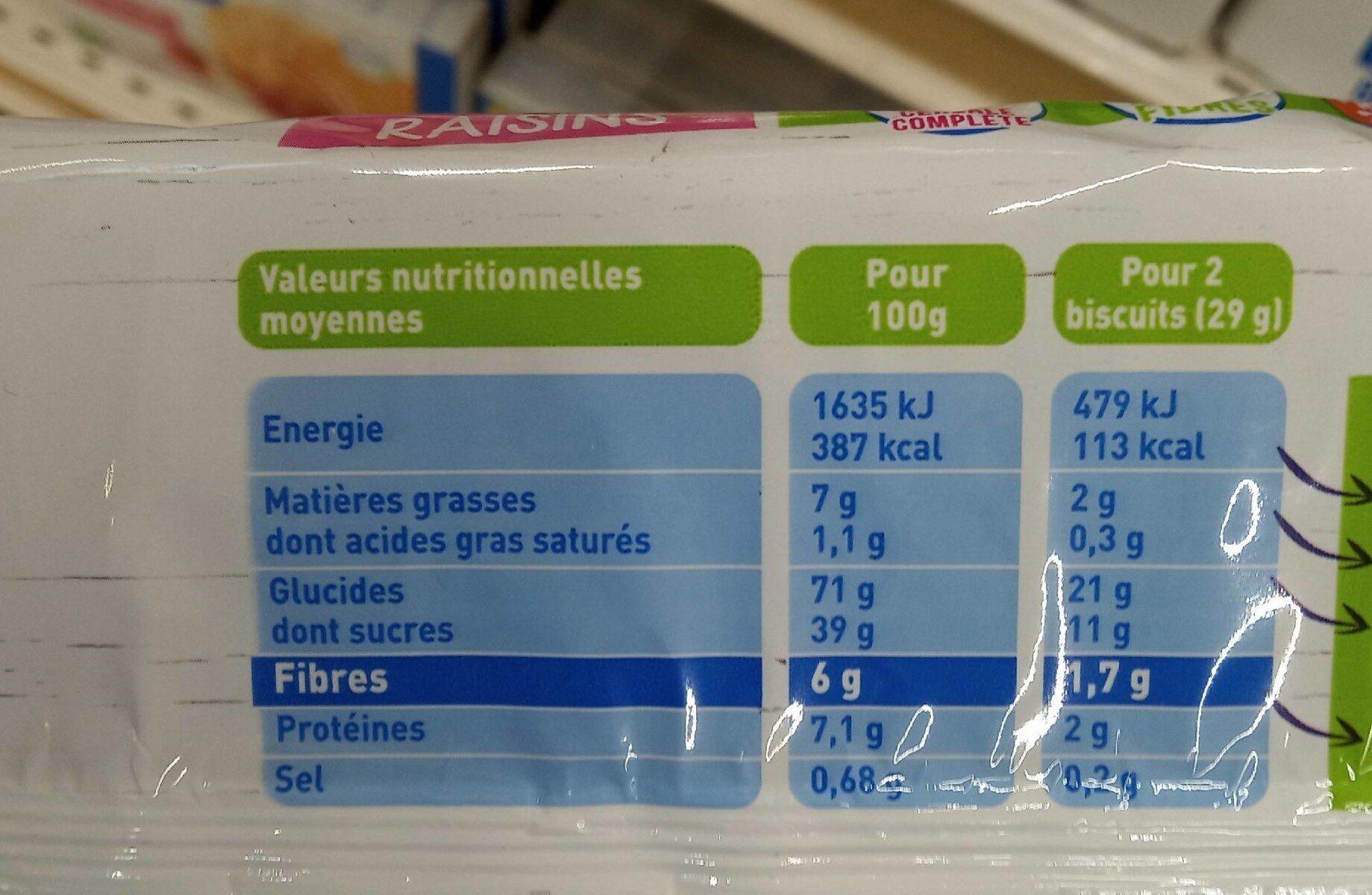 Bio nutri+ Céréales raisins - Nutrition facts - fr