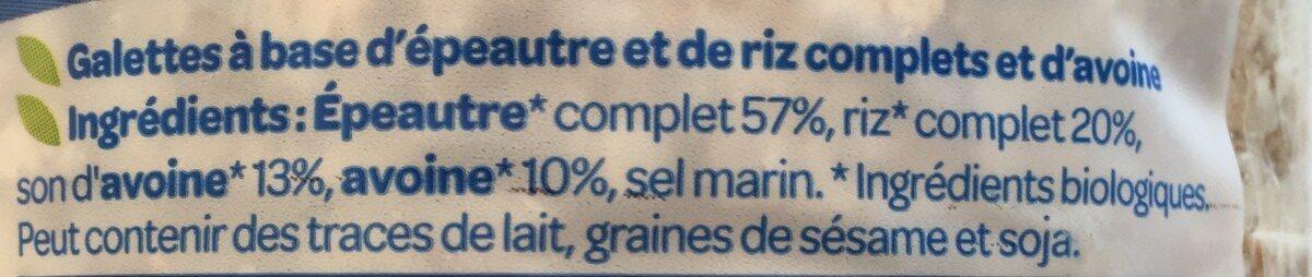 Galette épeautre/son d'avoine - Ingrediënten