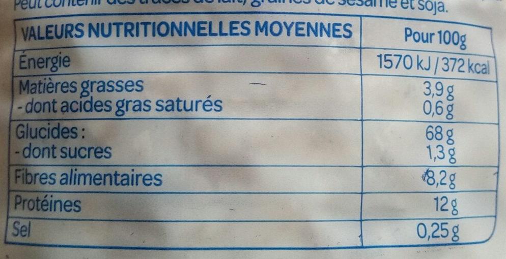 Galette épeautre/son d'avoine - Informations nutritionnelles - fr