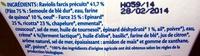 Raviolis Ricotta Épinards Bio - Ingrédients - fr