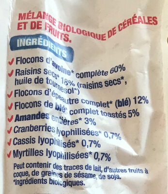 Muesli Superfruits Raisin Cassis Cranberry Myrtille - Ingredienti - fr