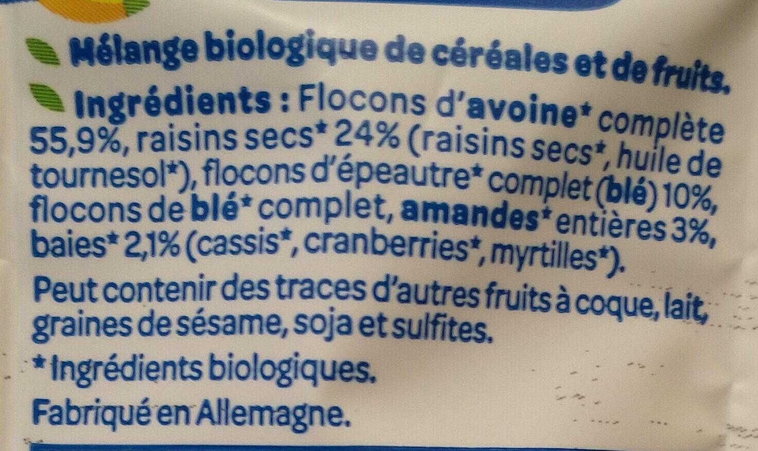 Muesli Superfruits Raisin Cassis Cranberry Myrtille - Ingrediënten