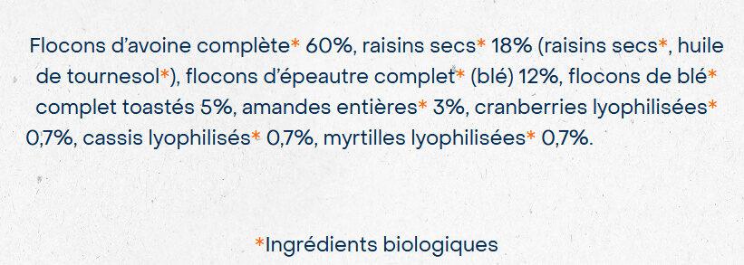 Muesli Superfruits Raisin Cassis Cranberry Myrtille - Ingredients - fr
