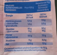 Muesli Superfruits Raisin Cassis Cranberry Myrtille - Voedingswaarden - fr
