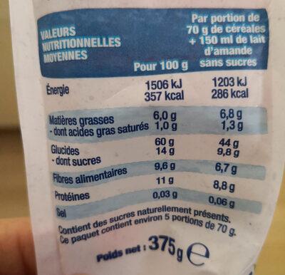 Muesli Superfruits Raisin Cassis Cranberry Myrtille - Informazioni nutrizionali - fr