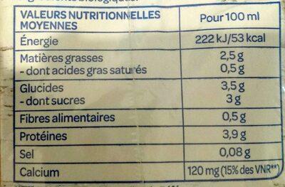 Soja calcium - Informations nutritionnelles - fr