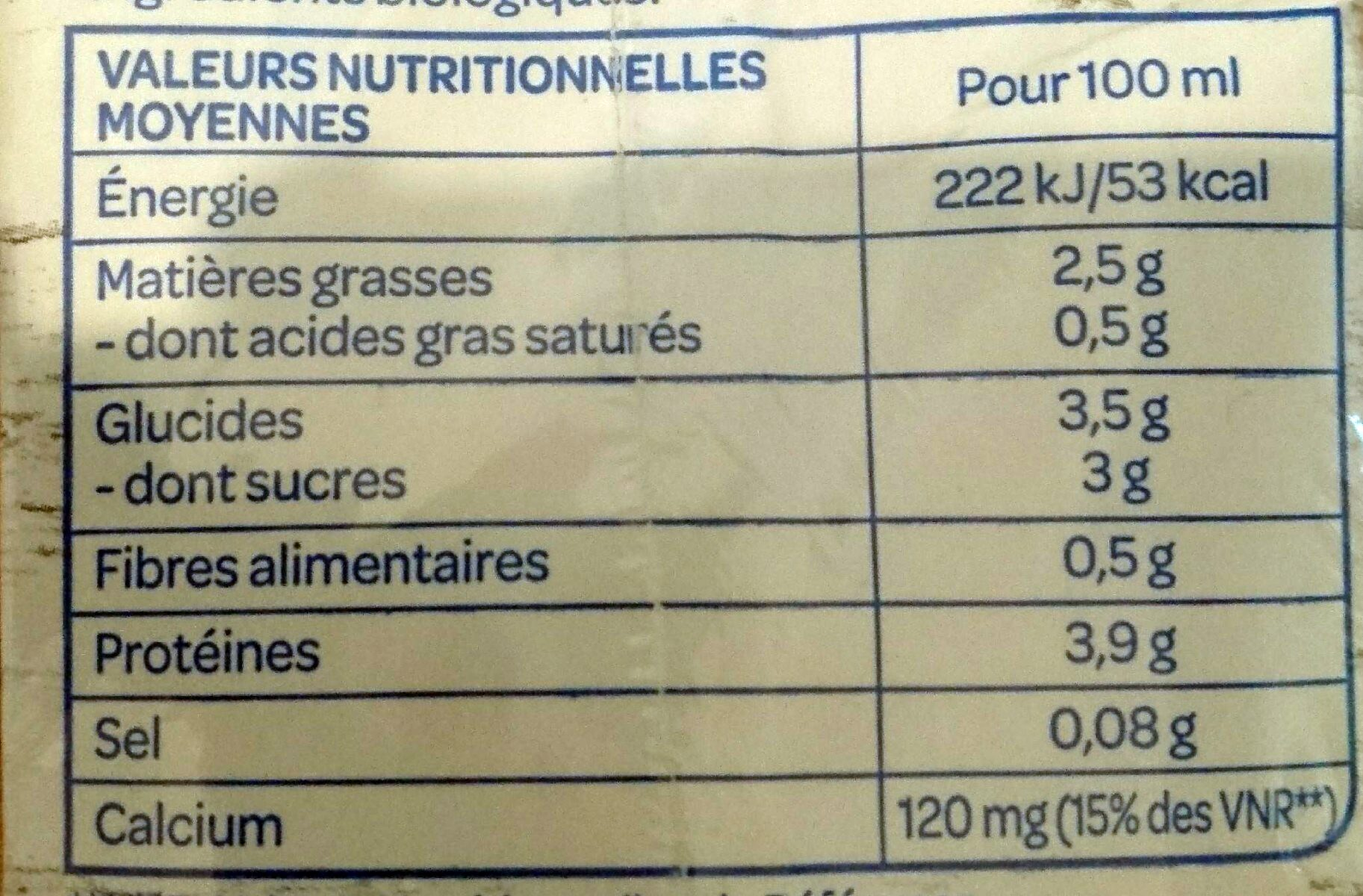 Soja calcium - Nutrition facts - fr
