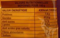 Mian Tiao saveur poulet - Informations nutritionnelles