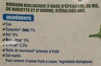 Boisson Epeautre Noisette - Ingrédients - fr