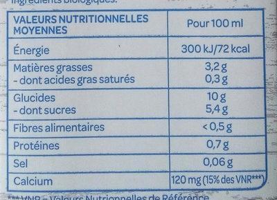 Lait végétal épeautre noisette - Informations nutritionnelles - fr